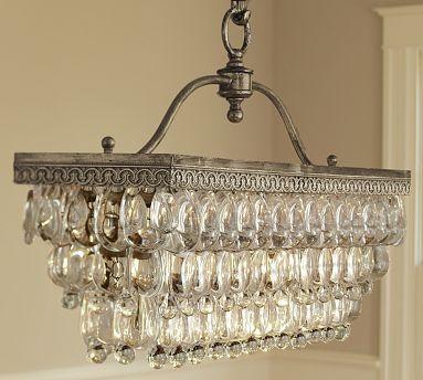 Clarissa Glass Drop Rectangular Chandelier #potterybarn for-the-home