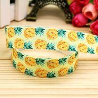 7/8 ''freies verschiffen ananas druckte grosgrainband grosgrainbandhaar-bogenkopfbedeckungen party-deko großhandel OEM 22mm H5194