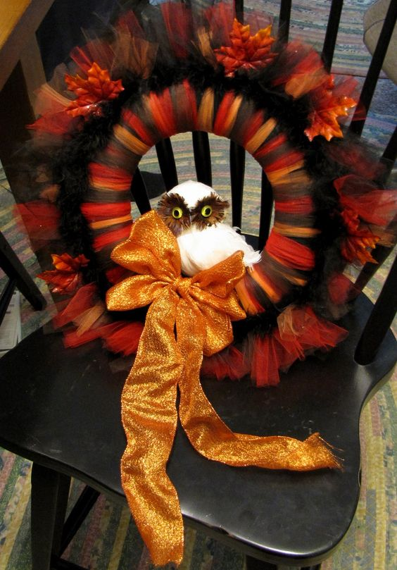 Autumn Tulle Owl Wreath Tutorial Colors Can Be Changed