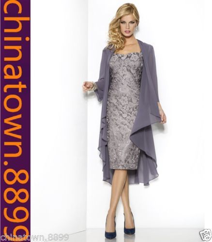 Details about New free lace coat Mother Of The Bride Outfits/Dress