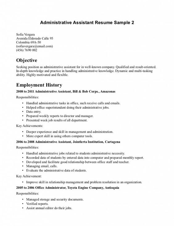 Office Assistant Resume Objective | Resume Samples | Pinterest