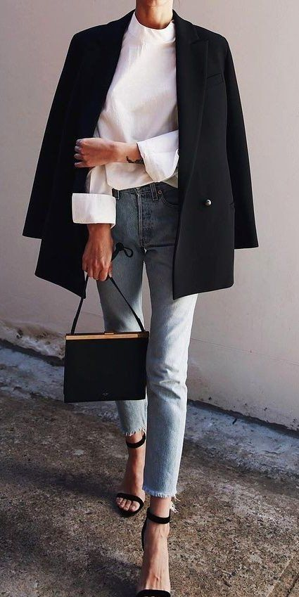 Frayed Denim and Black Blazer #sophisticated #style #fashionista