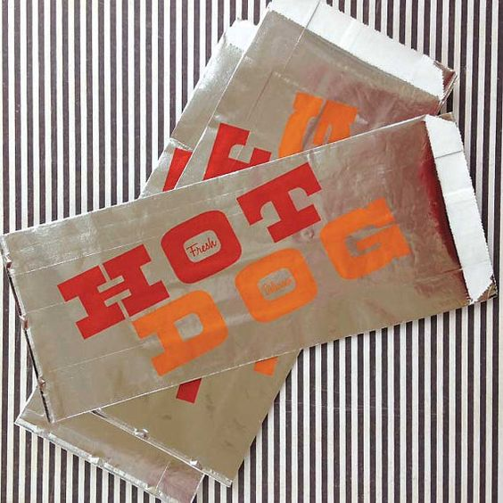 25 Foil Hot Dog Bags Party Supplies Hot Dog by CrankyCakesShop