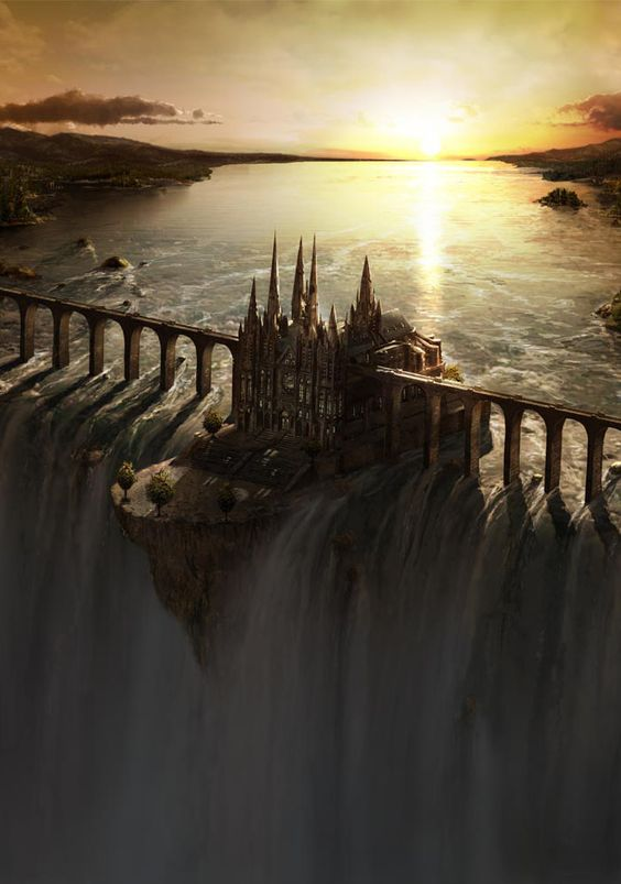 """fantasy-art-engine: """" Waterfall Castle by Frederic St. Arnaud """""""
