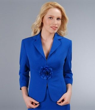 Sacou elegant albastru cu floare