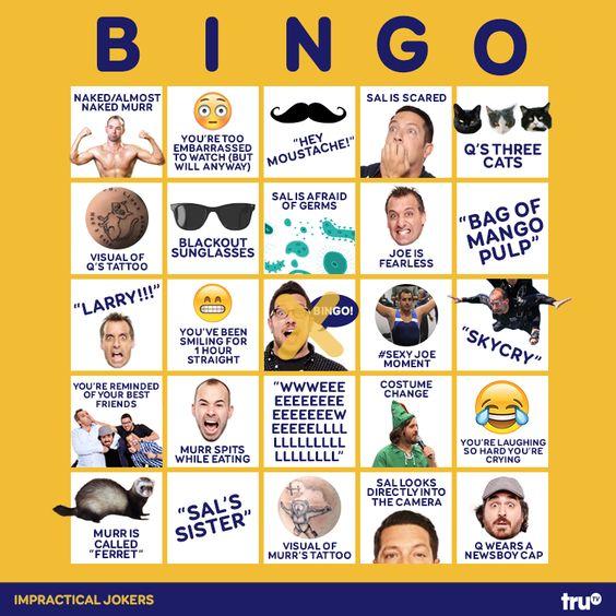 Impractical Jokers bingo card