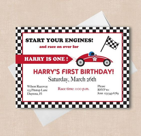race car party invitations:
