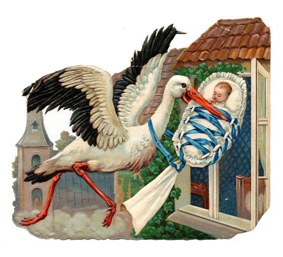 Alte Oblate Glanzbilder Scraps Storch Adebar Baby... von 1895 19x16cm::