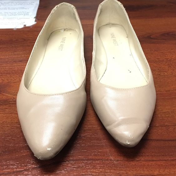 FINAL MARKDOWN‼️Nine West nude pointy flats Pre loved Nine West nude pointy flats. Shows signs of wear on bottom soles and slight scuffs on the pointy part and creasing. All jewels are in tact and some is in great condition worn a hand full of times. Nine West Shoes Flats & Loafers