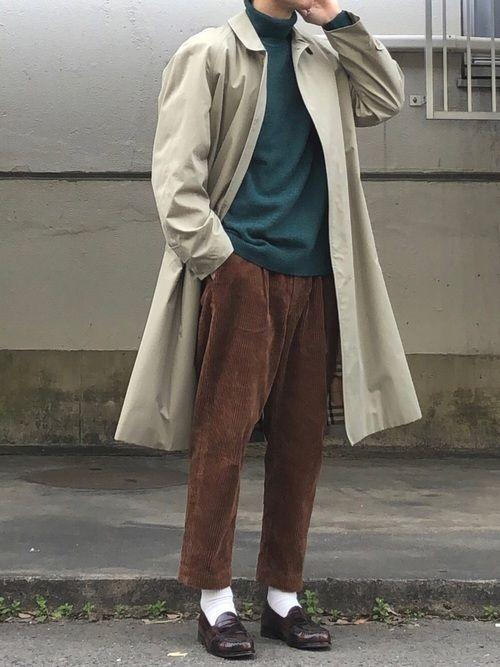 ブラウン コート コーデ メンズ