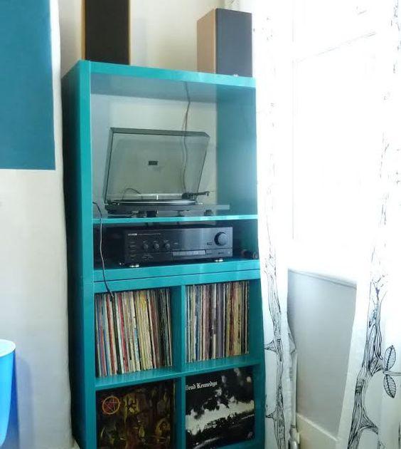record storage ikea kallax hack and kallax hack on pinterest. Black Bedroom Furniture Sets. Home Design Ideas