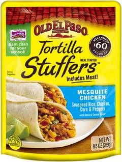 Old El Paso Tortilla Stuffers Mesquite Chicken Meal Starter brings together seasoned rice, chicken, corn and peppers for a great meal. Old El Paso Stuffers are quick and easy to make. Just put them in a microwave for 60 seconds for an instant meal. Old El
