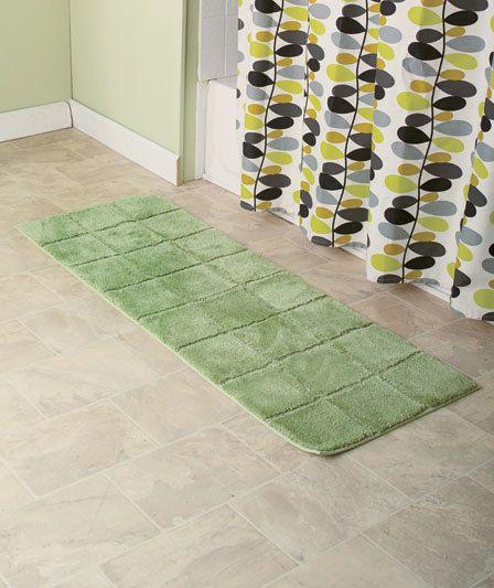 "Nonskid Microfiber Runner Plush Bath Rugs Sage 20"" x 58"" Bathroom Decor"