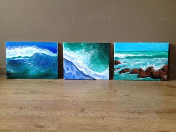 Peinture triptyque vagues d co mer pinterest uvres d 39 art - Peinture acrylique triptyque ...