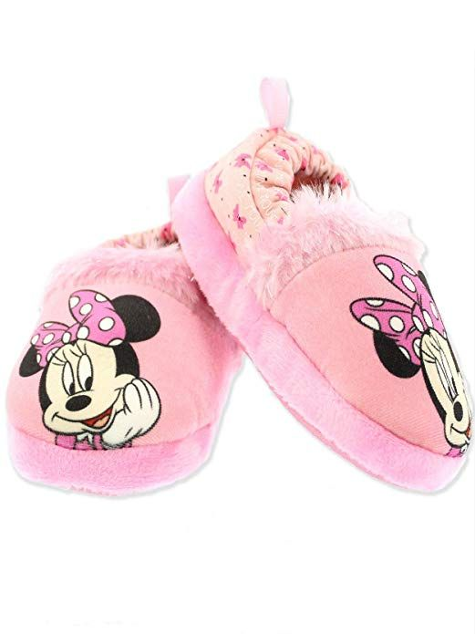 Minnie Mouse Toddler Girl's Plush A Line Slippers (7 8 M US