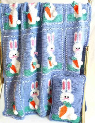 Free Crochet Easter Afghan Patterns : Easter Bunnies Afghan and Pillow Set Crochet Pattern ...