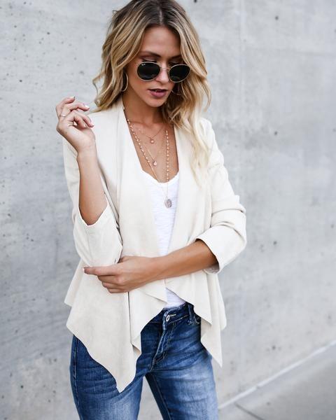 Womens Ladies Long Sleeve Waterfall Cardigan Blazer Coat Open Front Suede Jacket
