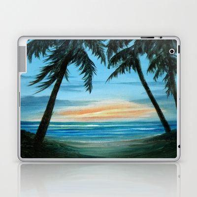 Good Morning Sunshine Laptop & iPad Skin by Rosie Brown - $25.00  #laptop #ipad #skins #seascape #sunrise #morning #beach @palms #trees #nature #tropical #miamibeach #society6
