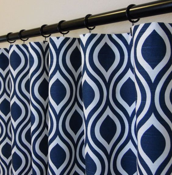 Curtains Ideas curtain panels 72 length : Navy Blue and White Modern Geometric Trellis Nicole Contemporary ...
