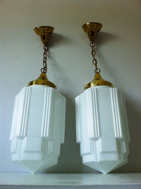 art deco skyscraper milk glass light fixtures we have one of these already in the kitchen hanging over the back entry door art deco kitchen lighting