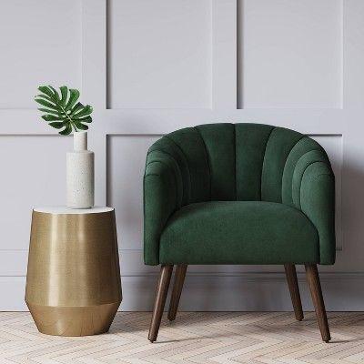 Gwynne Modern Barrel Chair With Channel Seams Velvet Forest Green Project 62 Barrel Chair Green Home Decor Green Velvet Chair
