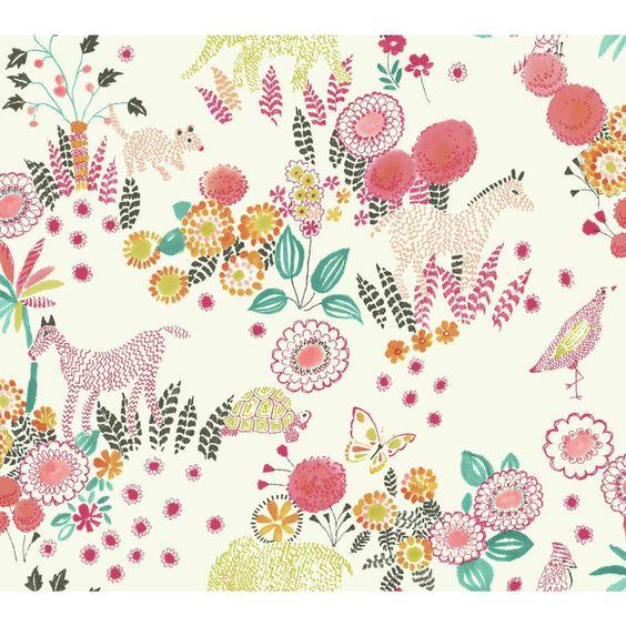 "York Wallcoverings Waverly Kids Reverie Floral 27' x 27"" Floral and Botanical Wallpaper   AllModern"