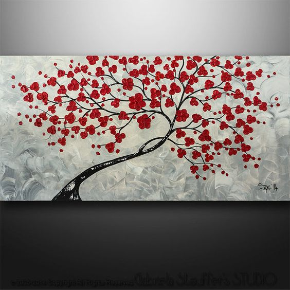 "Abstract Painting Modern Original Painting Tree Birds Painting Art Black White Red Large 48""x24"" Painting"