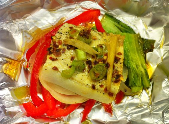 Steamed Fish with Bok Choy and Peppers:   Steaming in individual packets is an easy, delicate way to prepare fish.  And, as an added bonus, this method also saves on cleanup!  Red bell peppers provide a blast of Vitamin C for healthy skin and joints.