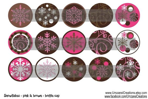 15 Snowflakes Pink and Brown Digital Download for 1 by MaddieZee, $1.50