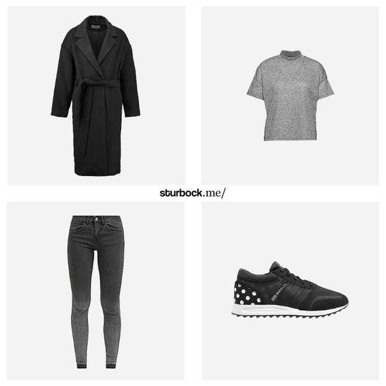 Knielanger Mantel, cropped T-Shirt, 7/8 Jeans und gepunktete adidas 'Los Angeles'. Hier entdecken und shoppen: http://sturbock.me/wTO