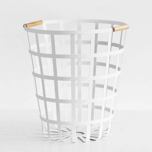 Yamazaki Tosca Laundry Basket Round White Natural Laundry Basket