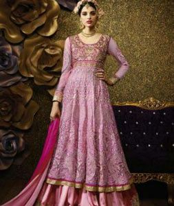 Buy Pink Banarasi Silk Indo Western Anarkali Suit 69476 online at lowest price from huge collection of salwar kameez at Indianclothstore.com.