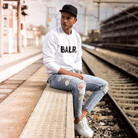 Outfit Con Tenis Deportivos Hombre En 2019 Tenis Blanco