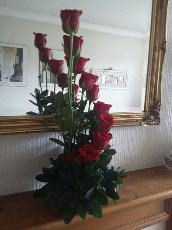 A Spiral Flower Arrangement with Red Roses. A Thank you present I made for a Special friend.