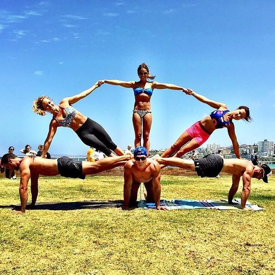 6 Person Easy Pose Acro Yoga Poses Pinterest Awesome