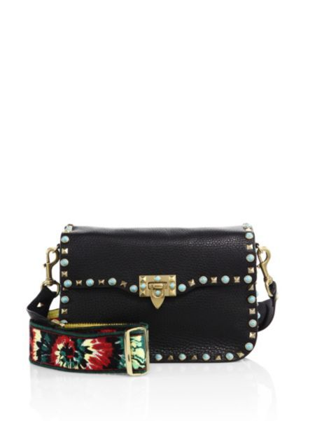 Valentino - Guitar Strap Rolling Rockstud Leather Shoulder Bag: