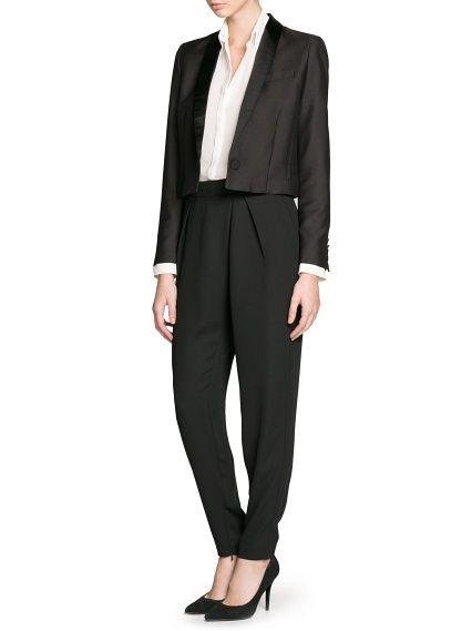Cropped tuxedo blazer