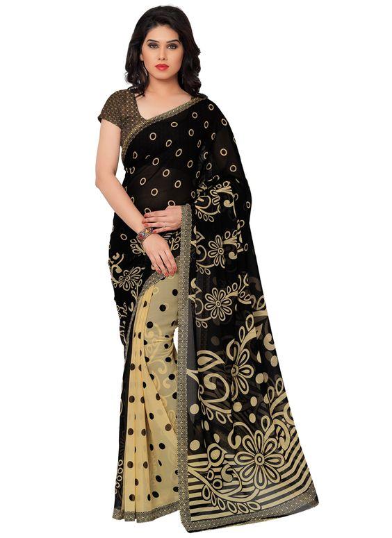 Casual black colour printed georgette saree