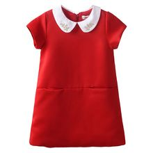 2016 New Hot Sale Girls Dresses Solid Red Soft Children Girl Princess Summer Dress With Pearl Neck Summer Dress DMGD80905-141F(China (Mainland))