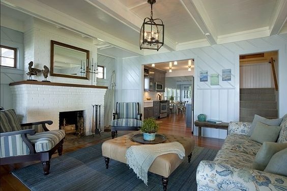This is the kind of living room that feels incredibly calming and relaxing. Perfect environment for a cottage. I love this light fixture by Circa Lighting.