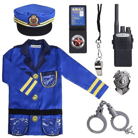 Police Costume for Kids with Toy Role Play Kit Girl Boy Gifts Toys Blue