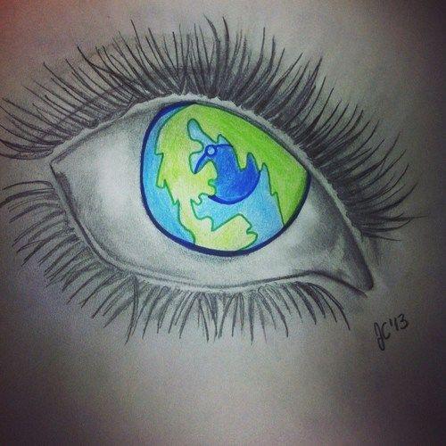 World/Eye Drawing by Jenine   We Heart It