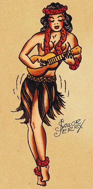 HULA girl. Ukulele. Sailor Jerry. I am going to get this tattoo onto the inside of my left forearm.