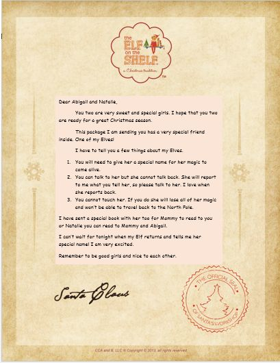Arrival letter for the first time the Elf on the Shelf comes to our ...