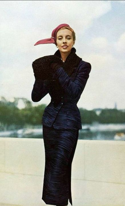 1953 Marie-Thérèse in printed wool suit with astrakhan collar and muff by Germaine Lecomte, photo by Georges Saad