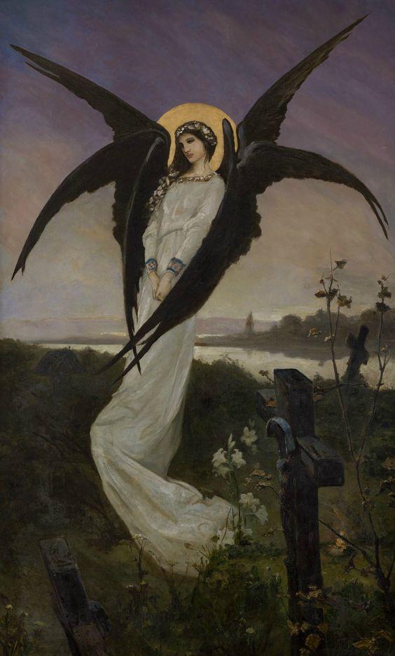 """Wilhelm Kotarbiński (Vasili Aleksandrovich Kotarbinsky), """"Anioł na cmentarzu"""" (""""Angel in a Cemetery""""):"""