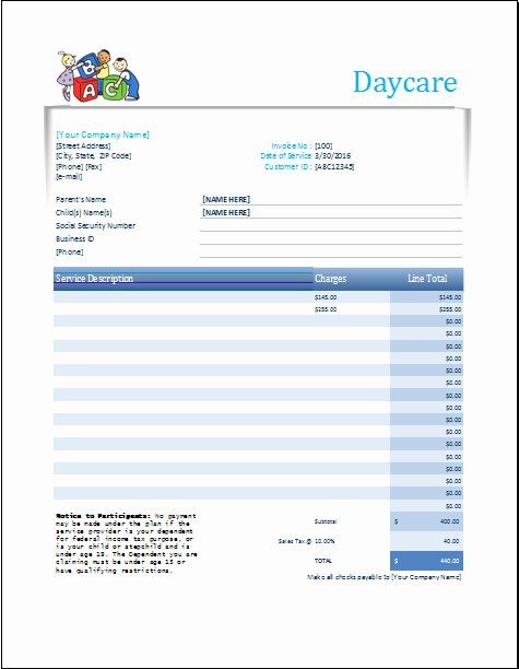 Receipt For Child Care Services Fresh Daycare Receipt Excel Template In 2020 Child Care Services Childcare Daycare