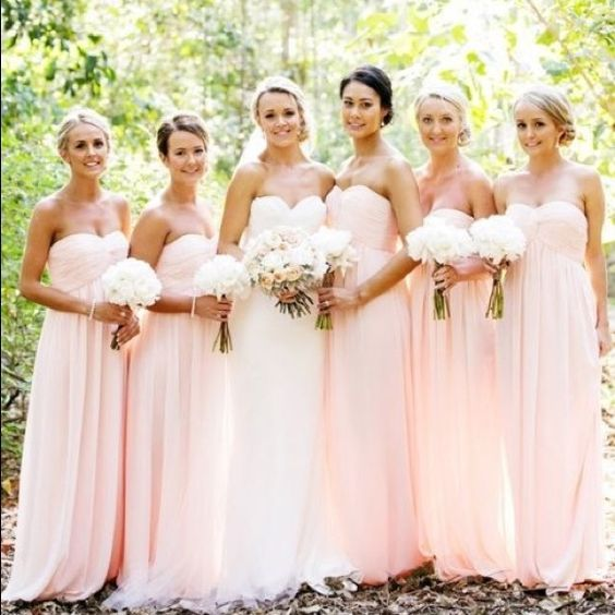 David's Bridal Bridesmaid Dress! Gorgeous long strapless bridesmaid dress in Petal. David's Bridal Dresses Wedding