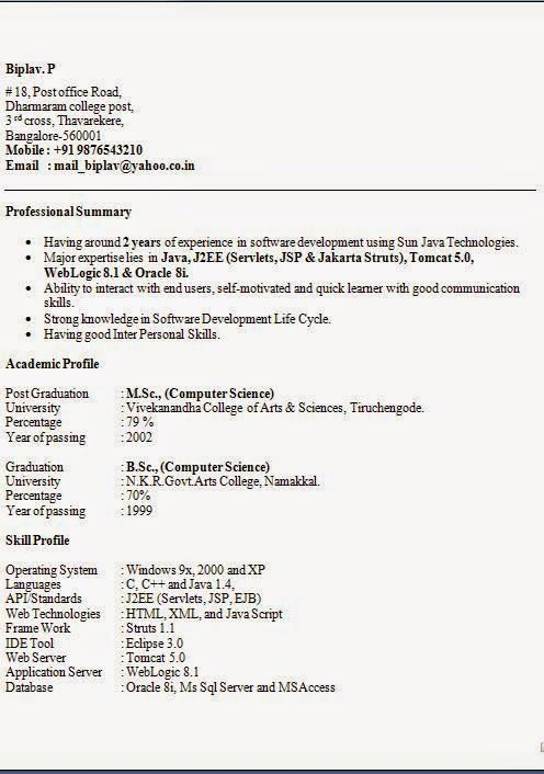 model curriculum vitae completat Sample Template Example of - j2ee jsp resume