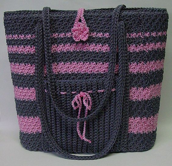 Crochet Bag With Pockets Pattern : nice bag - free crochet pattern uses size 18 LaEspiga ...
